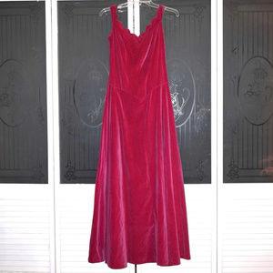VintagePink Velvet Formal Ball Evening Gown Dress